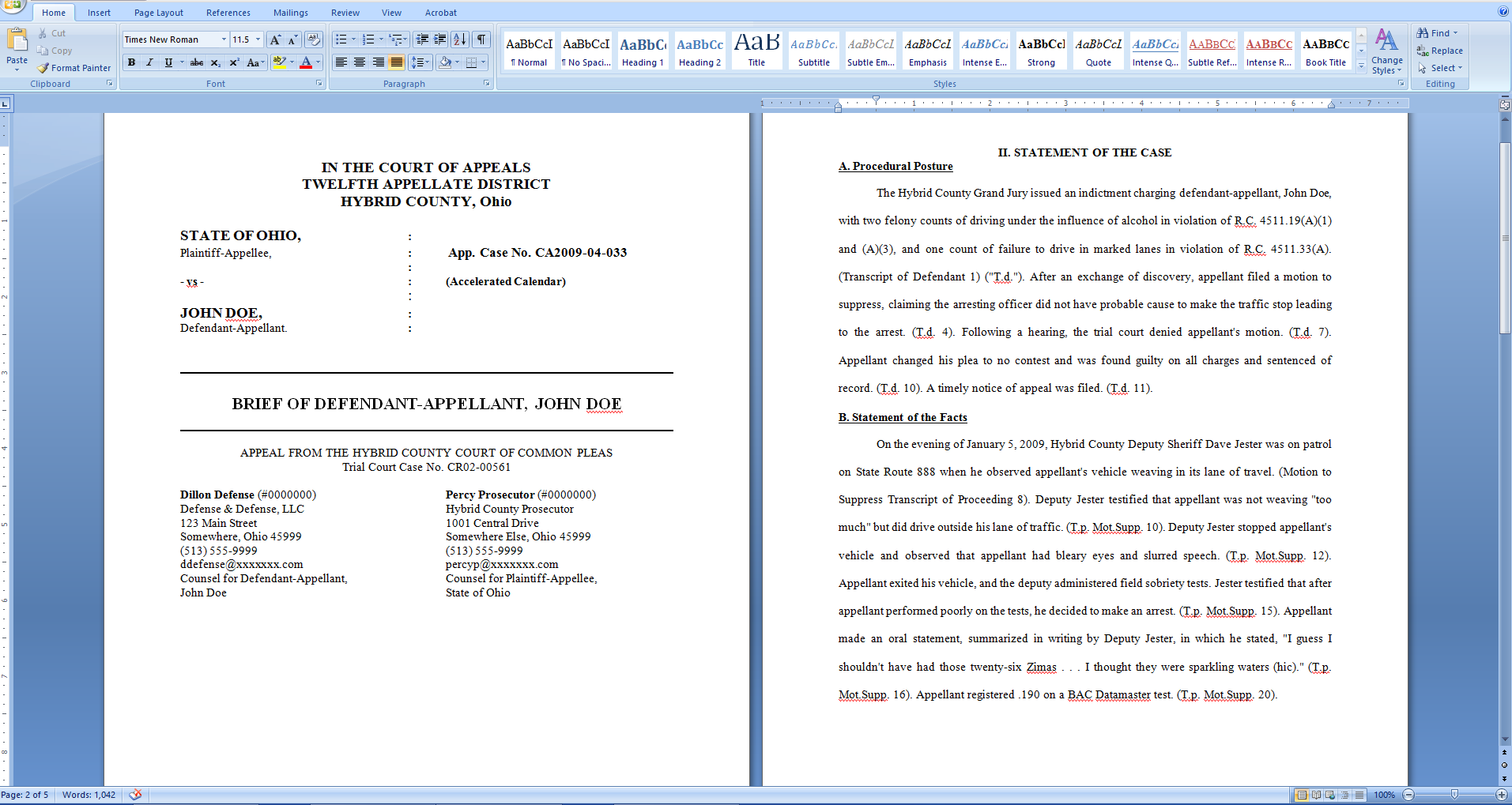 Easily create a table of authorities for a legal brief with Microsoft Word, first 2 pages