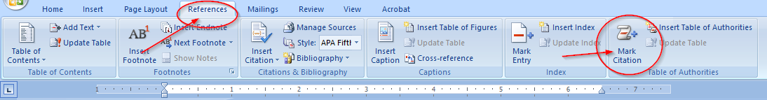 Easily Create a Table of Authorities for a legal brief with Microsoft Word, mark citation