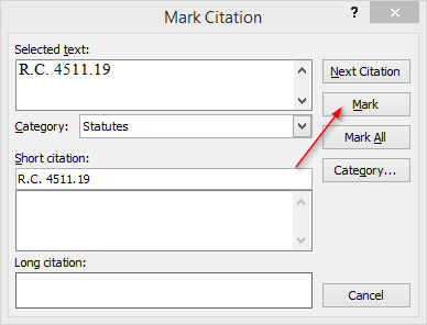 Easily Create a Table of Authorities for a legal brief with Microsoft Word, mark citation with arrow