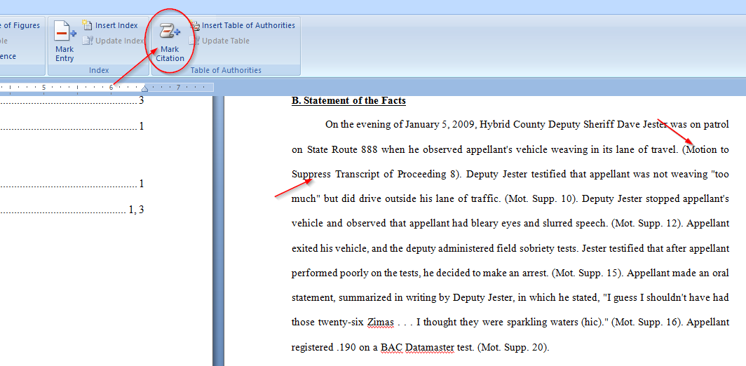 Easily Create a Table of Authorities for a legal brief with Microsoft Word, motion to suppress