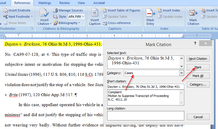 Easily Create a Table of Authorities for a legal brief with Microsoft Word, mark a case