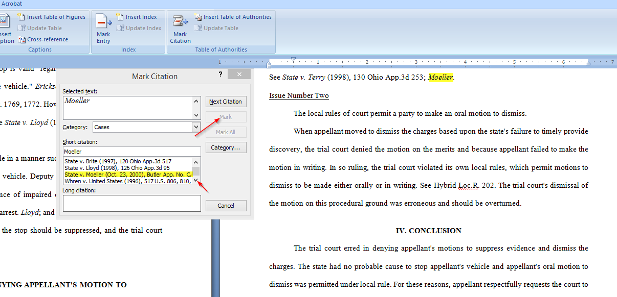 Easily Create a Table of Authorities for a legal brief with Microsoft Word, adding moeller