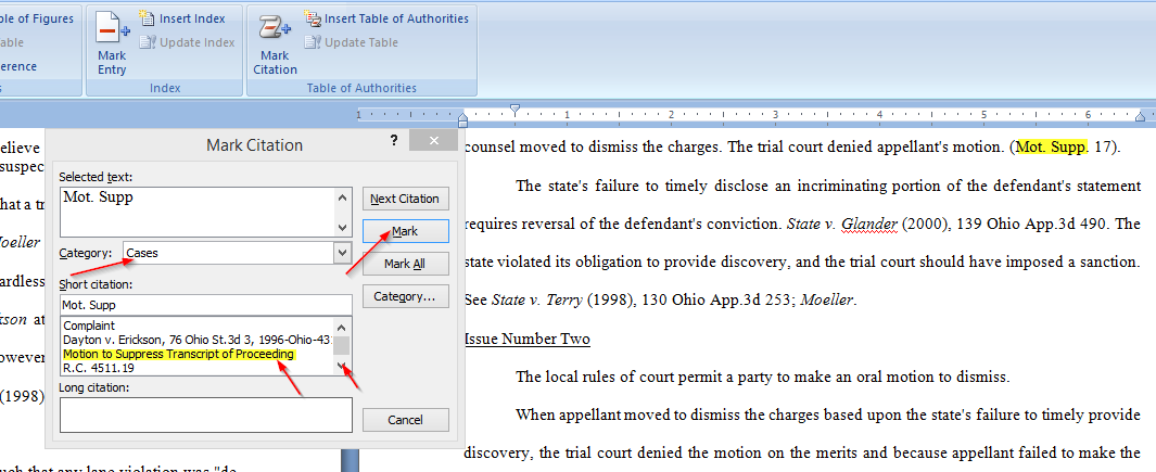 Easily Create a Table of Authorities for a legal brief with Microsoft Word, mark motion