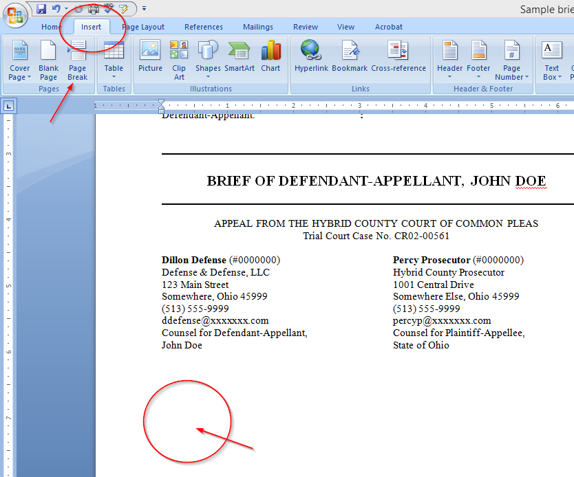 Easily Create a Table of Authorities for a legal brief with Microsoft Word, page break