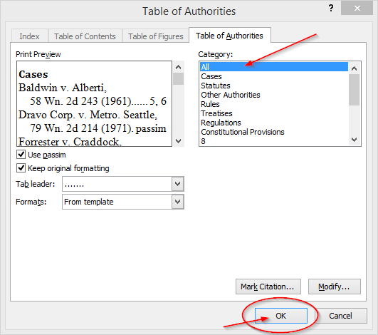 Easily Create a Table of Authorities for a legal brief with Microsoft Word, insert table 2