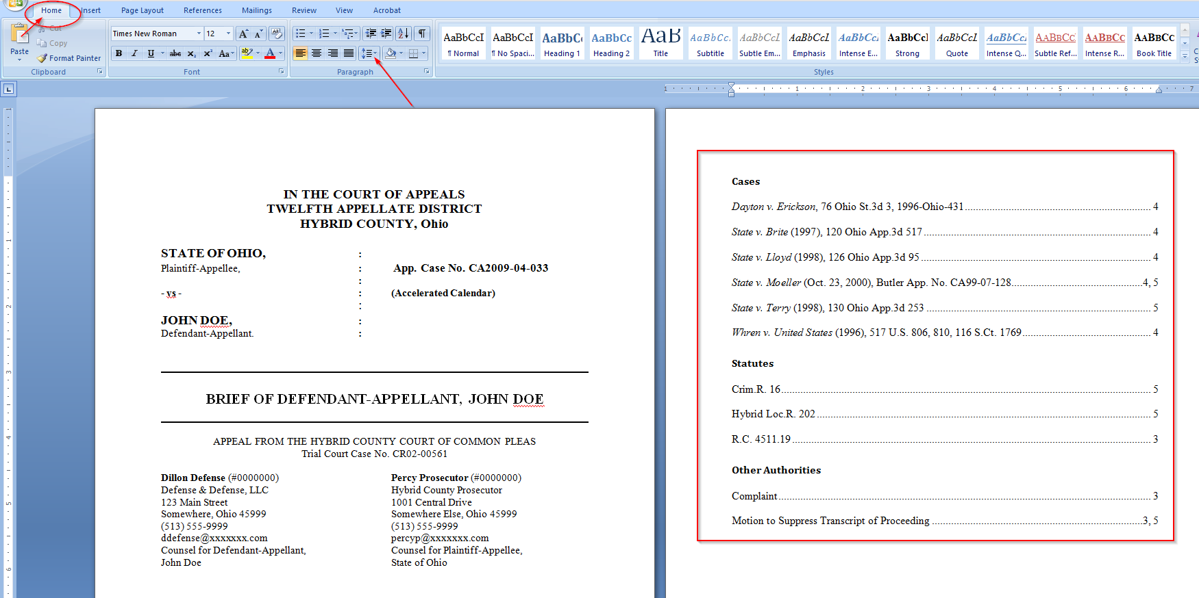 Easily Create a Table of Authorities for a legal brief with Microsoft Word, double space
